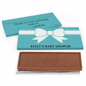 Custom baby shower chocolate gift box favors deluxe personalized tiffany bow theme baby shower chocolate bar in gift box negle Images