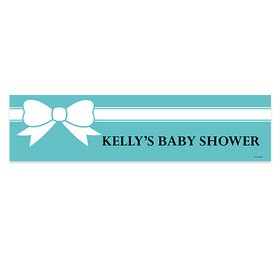 Personalized Tiffany Themed Bow Baby Shower 5 Ft. Banner