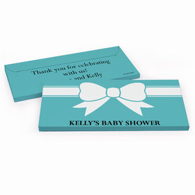 Deluxe Personalized Tiffany Bow Theme Baby Shower Chocolate Bar in Gift Box