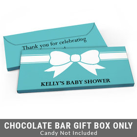 Deluxe Personalized Tiffany Bow Theme Baby Shower Candy Bar Favor Box