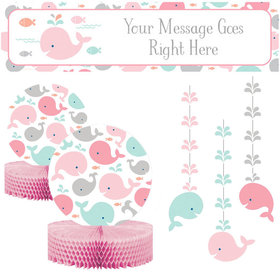 Baby Shower Decorating Kit - Baby Whale Pink