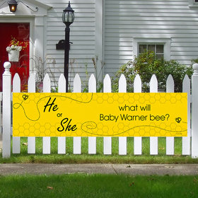 Personalized Gender Reveal Bee Baby Shower 5 Ft. Banner