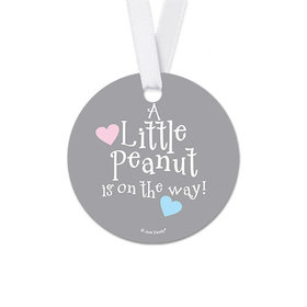 Personalized Elephants Baby Shower Round Favor Gift Tags (20 Pack)