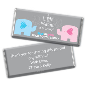 Gender Reveal Baby Shower Baby Elephants Personalized Chocolate Bar