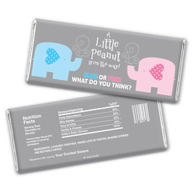 Gender Reveal Baby Shower Baby Elephants Personalized Chocolate Bar Wrappers