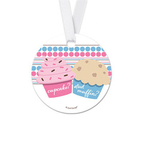 Personalized Cupcakes Baby Shower Round Favor Gift Tags (20 Pack)