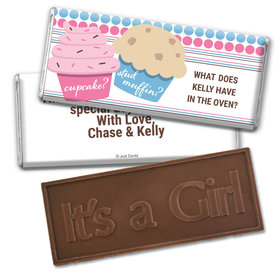 Gender Reveal Baby Shower Cupcakes Embossed It's a Girl Chocolate Bar