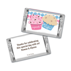 Gender Reveal Baby Shower Cupcakes Personalized Hershey's Miniatures Wrappers
