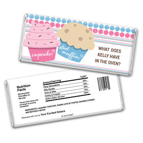 Gender Reveal Baby Shower Cupcakes Personalized Chocolate Bar Wrappers