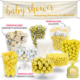 Personalized Baby Shower Yellow Chevron Pattern Deluxe Candy Buffet