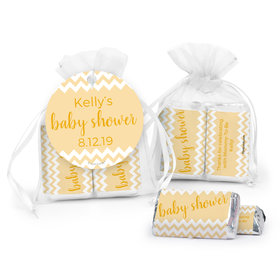 Personalized Baby Shower Chevron Hershey's Miniatures in Organza Bags with Gift Tag