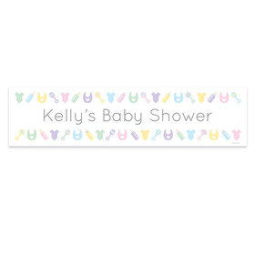 Personalized Baby Shower Bibs, Bottles & Rattles Banner