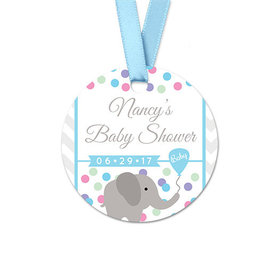 Personalized Chevron Elephant Baby Shower Round Favor Gift Tags (20 Pack)