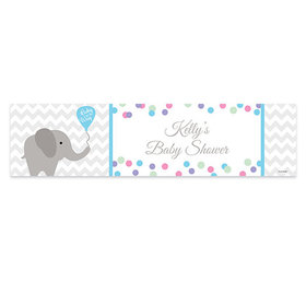 Personalized Chevron Elephant Baby Shower Banner