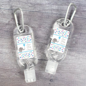 Personalized Baby Shower Chevron Elephant Hand Sanitizer with Carabiner - 1.fl. Oz.