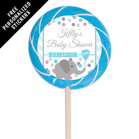 "Baby Shower Personalized 3"" Swirly Pop Chevron Dots (12 Pack)"