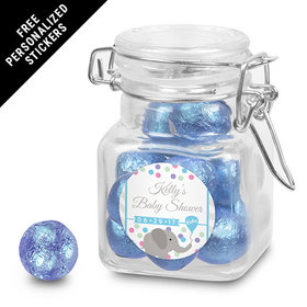 Baby Shower Personalized Latch Jar Chevron Dots (12 Pack)