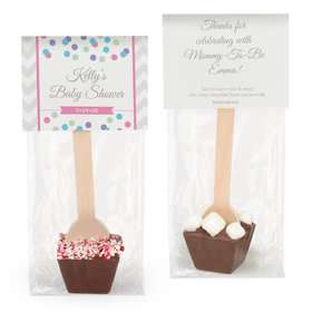 Personalized Baby Shower Chevron Dots Elephant Hot Chocolate Spoon