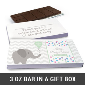 Deluxe Personalized Chevron Dots Elephant Baby Shower Belgian Chocolate Bar in Gift Box (3oz Bar)