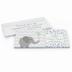 Deluxe Personalized Chevron Elephant Baby Shower Chocolate Bar in Gift Box