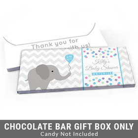 Deluxe Personalized Chevron Elephant Baby Shower Candy Bar Favor Box