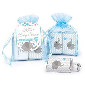Personalized Baby Shower Chevron Elephant Hershey's Miniatures in Organza Bags with Gift Tag