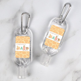 Personalized Baby Shower Safari Snuggles Hand Sanitizer with Carabiner - 1.fl. Oz.