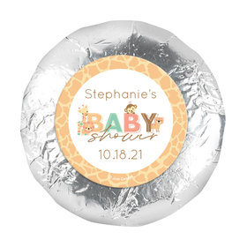 "Personalized Safari Snuggles Baby Shower 1.25"" Stickers (48 Stickers)"