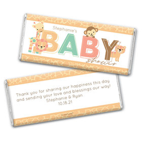 Baby Shower Personalized Chocolate Bar Safari Snuggles