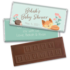 Baby Shower Personalized Embossed Chocolate Bar Woodland Buddies
