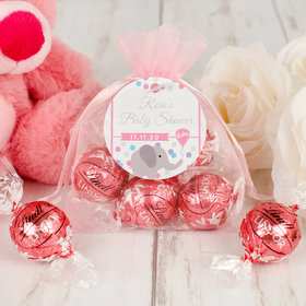 Personalized Baby Shower Lindt Truffle Organza Bag- Chevron Dots