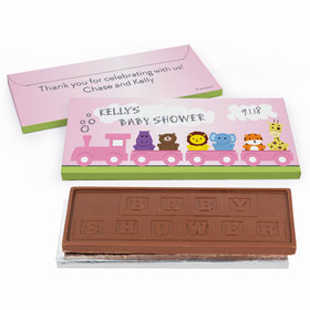 Deluxe Personalized Safari Animal Train Baby Shower Chocolate Bar in Gift Box