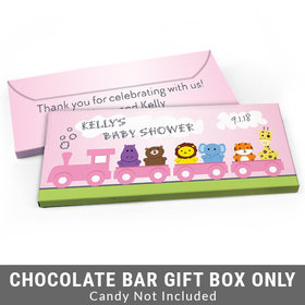 Deluxe Personalized Safari Animal Train Baby Shower Candy Bar Favor Box