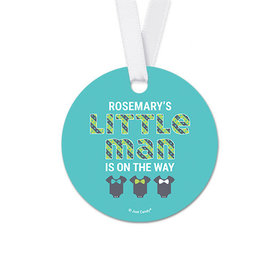 Personalized Little Man Baby Shower Round Favor Gift Tags (20 Pack)
