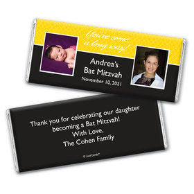 Bat Mitzvah Personalized Chocolate Bar Wrappers Then & Now
