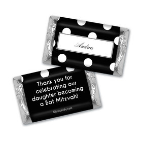 Bat Mitzvah Personalized HERSHEY'S MINIATURES Polka Dot Place Cards