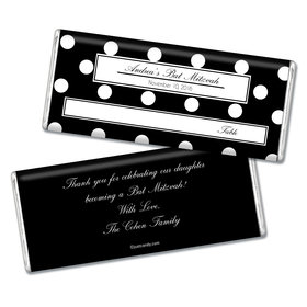 Bar & Bat Mitzvah Personalized Chocolate Bar Polka Dot Place Cards