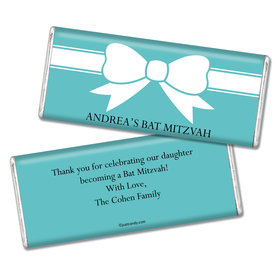 Bat Mitzvah Personalized Chocolate Bar Tiffany Bow Theme