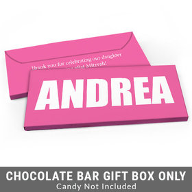 Deluxe Personalized Block Name Bat Mitzvah Candy Bar Favor Box
