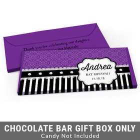 Deluxe Personalized Lace Bat Mitzvah Candy Bar Favor Box