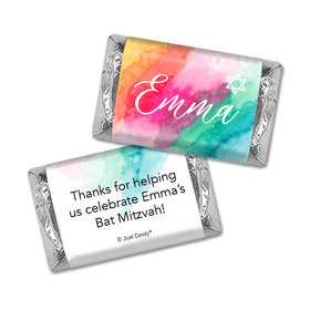 Personalized Rainbow Watercolor Bat Mitzvah Hershey's Miniatures Wrappers