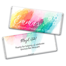 Personalized Bat Mitzvah Rainbow Watercolor Chocolate Bar