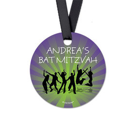 Personalized Dance Party Bat Mitzvah Round Favor Gift Tags (20 Pack)