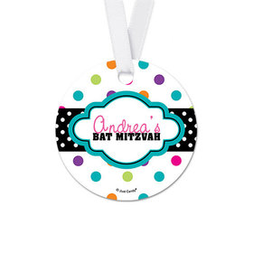 Personalized Polka Dot Bat Mitzvah Round Favor Gift Tags (20 Pack)
