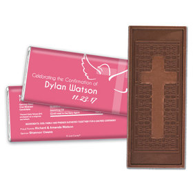 Confirmation Personalized Embossed Cross Chocolate Bar Cross & Dove