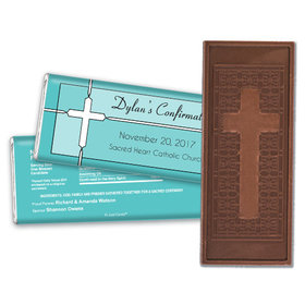 Confirmation Personalized Embossed Cross Chocolate Bar Stained Glass Cross