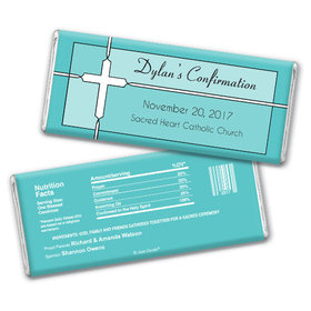 Confirmation Personalized Chocolate Bar Stained Glass Cross