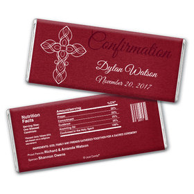 Confirmation Personalized Chocolate Bar White Cross on Crimson Red