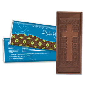 Confirmation Personalized Embossed Cross Chocolate Bar Doves & Circle Crosses