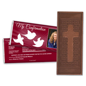 Confirmation Personalized Embossed Cross Chocolate Bar Peace Doves